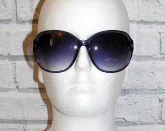 Vintage 80s deadstock oversize round sunglasses graduated lense purple (HX95)