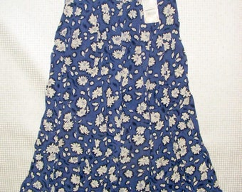 Size 12-14 vintage 80s button maxi skirt blue daisy floral print BNWT (HX39)