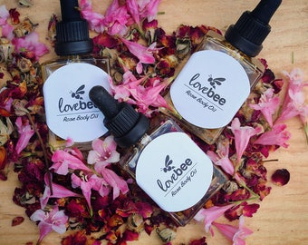 All Natural Rose Body Oil   LoveBee   Hand made blend of oils with Skin firming effects. Bath & Body Oil.