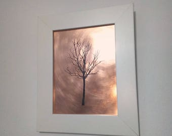 Autumn Tree Copper Etching | Framed Image | Wall Art | Freestanding Art | Etched Image