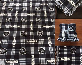 LARGE Raiders NFL Handmade Fleece Tie Blanket | 55x65 | Los Angeles Raiders Football Blanket | LA Raiders Blanket Football Fan