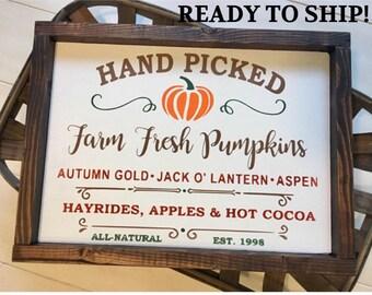 Farm Fresh Pumpkins Sign, Pumpkin Sign, Fall Decor, Autumn Decor, Autumn Sign, Farmhouse Fall, Hand Picked Pumpkin Sign