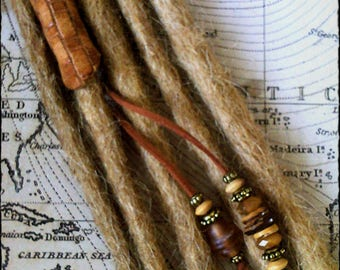 M/L - VIKING - Unique hand crafted, up-cycled genuine leather dread/hair cuff/bead with beaded tails.
