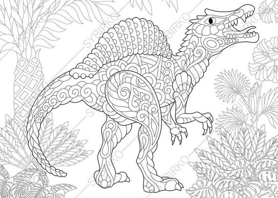Adult Coloring Pages Dinosaur Spinosaurus Zentangle Doodle