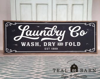 Laundry Co Wash Dry and Fold Sign -- PERSONALIZED Farmhouse Magnolia Fixer Upper Joanna