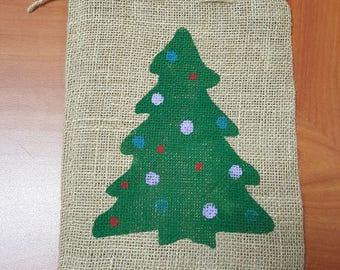 Burlap Bag, Christmas Tree Holiday Bags, Burlap Gift Bags, Goodie Bags, Party Bags, Christmas Bags, Christmas Party Bags, Christmas Decor