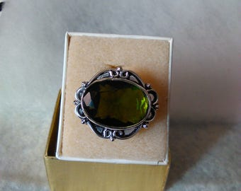 NEW Peridot ring, sterling August birthstone size 7