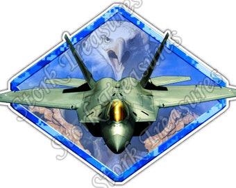 F-22 Air Force US Army Military Bald Eagle Car Bumper Vinyl Sticker Decal
