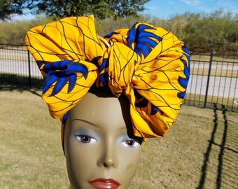 Yellow and Blue African Fabric Headwrap, Ankara Headwrap