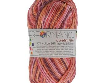 10 x 50 g knitting wool linen fun #9190 red pink Brown