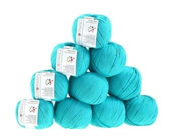 10 x 50 g knitting wool cotton Bay #131 turquoise