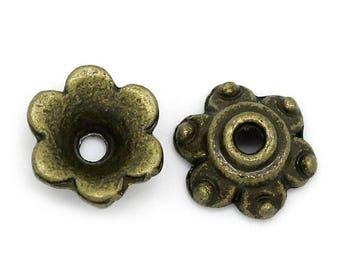 """300 Perlkappe, end cap, Zierperle, """"Bell"""", 7 x 7 mm"""