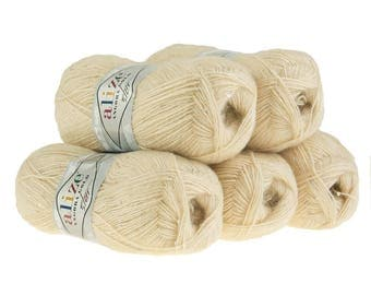 5 x 100 g sequin yarn ANGORA GOLD sand STAR #67
