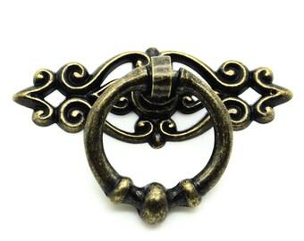 5 x ring handle drawer handle 66 x 45 mm antique bronze