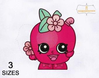 Beautiful Shopkins Apple Blossom Embroidery Design | 4x4 Hoop | 5x7 Hoop | 8x10 Hoop | Shopkins Embroidery Designs