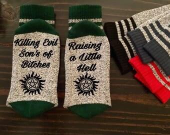 Killing Evil Raising Hell Supernatural Inspired Thermal Socks Dean Sam Castiel