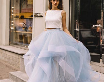 Unique Two Piece Blue Wedding Dress, Bridal Separates ,Crop Top Dress, Wedding Dress Skirt from Boom Blush