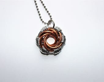 Large Silver and Copper Maillestrom Pendant