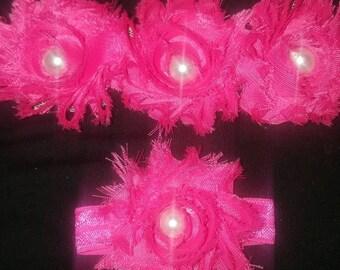 Fuschia flowers headband with matching bracelet/anklet