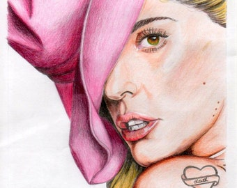 "Realistic Lady Gaga Portrait ""Joanne"" Original Artwork (2016) Paper 21x18cm on A4 inspired by Photoshhot for Harper's Bazaar"