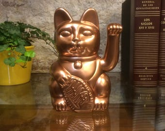 Maneki Neko / Lucky Cat / Waving Cat in 2 Sizes – Copper