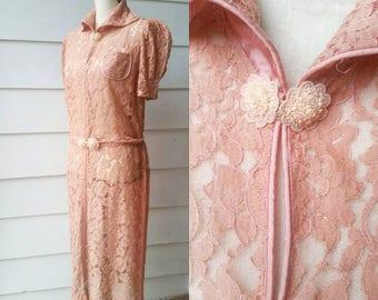 1940s Blush Pink Lace Dress