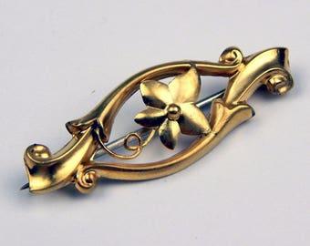 Art Nouveau 9k Gold brooch #10587