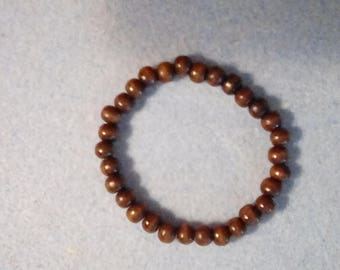 "Men's 8"" Dark Brown Wooden Beaded Bracelet , Stretch Cord"