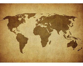"""24""""X36"""" World Map Canvas - Minimalist, Antique-Style World Map Wall Art - Canvas with Internal Wooden Frame"""