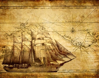 """24""""x36"""" Napoleonic Pirate Map Canvas - Napoleonic Pirate Ship & Map, Antique-Style Wall Art - Canvas with Internal Wooden Frame"""