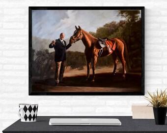 """18X24"""" Tony Soprano Print - Print of the painting of Tony Soprano w/ his horse, Pie-Oh-My - HBO's """"The Sopranos"""""""