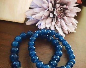 Blue Howlite Bead Bracelet