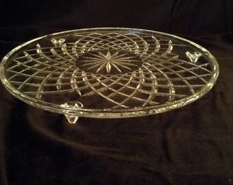 Cut Crystal Cake Platter