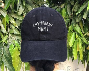 Champagne Mami Embroidered Denim Baseball Cap Black Cotton Hat Hipster Unisex Size Cap Tumblr Pinterest