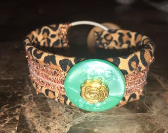 Leopard print and teal fabric bracelet