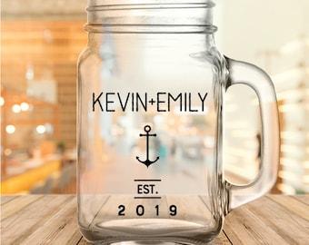 Custom Nautical Anchor Wedding Favor Mason Jars