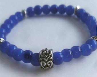6mm Blue Glass Beaded Bracelet