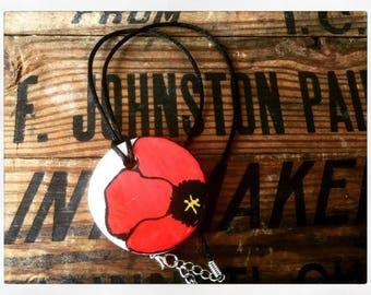 Red Poppy Pendant + Floral Pendant + Red Flower Pendant + Flower Pendant