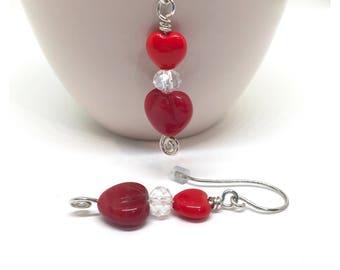 Heart Earrings, Sterling Silver Red Heart Earrings, Gift For Her