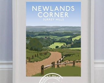 Newlands Corner, Guildford, Surrey Hills - Limited Edition Travel Print celebrating 60 years of the Surrey Hills AONB - Louise Dunckley
