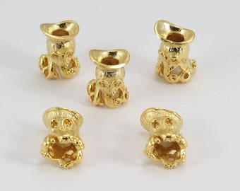 10 Pcs 24k Gold Plated Octopus Beads,  8x16mm, Animal and Pets Charms, TTE82