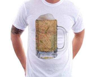 Beer Tee -  Brooklyn NY Map Beer Mug Tee, Vintage City Maps Beer Mug Tees, Beer T-Shirt, Beer Thinkers, Beer Lovers, Cities, Beer Lover Tees