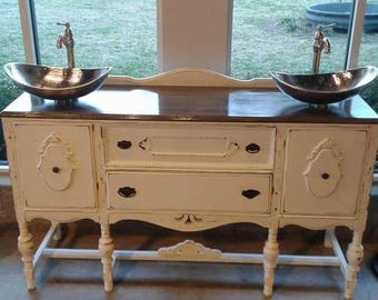 SOLD....Free Shipping... Beautiful Farmhouse Style Double Sink Bathroom Vanity Ready to hook up.