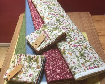 Fat Quarter bundle,  quilting fabric bundle, spring flowers, floral fabric, strawberries, daisies, red fabric, green fabric, fat qtrs