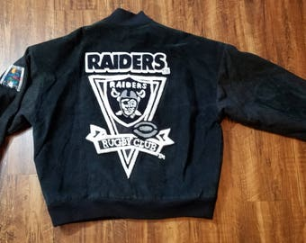 90s NFL Quarterback Club Los Angeles Raiders Suede Bomber Jacket