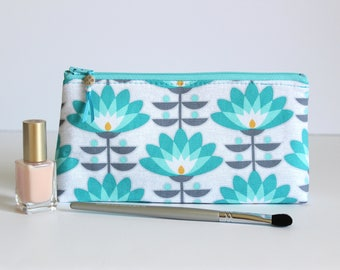 Lotus flower makeup bag - zipper pouch - cosmetic bag - lotus flower pencil case - gift for her - gift under 30