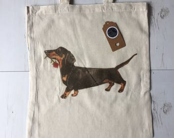 Sausage dog bag, dachshund cotton canvas tote, printed gift, rose, floral, dogs, pet portrait