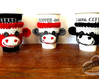 Sock Monkey Coffee Cup Cozy