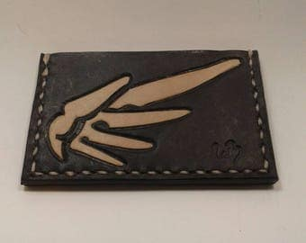Overwatch Mercy minimalist leather wallet, hand made in the USA with free shipping