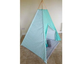 Turquoise zigzag boss teepee tent, play tent, kids teepee tent, nursery, playtime,big teepee tent,chevron teepee tent, childrens teepee tent